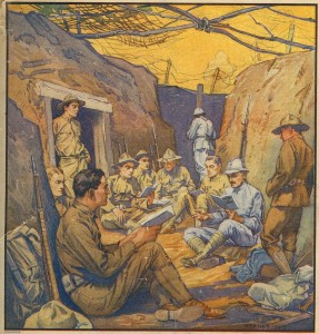 15_Studying French in the Trenches. Cover, ''The Literary Digest, October 20, 1917